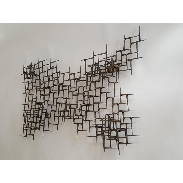 Abstract Abstract Metal Bronze & Mason Nails Wall Sculpture For Sale - Image 3 of 7