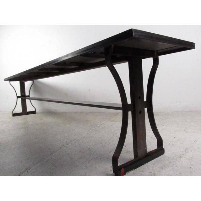 Industrial Modern Iron Bench For Sale - Image 4 of 6