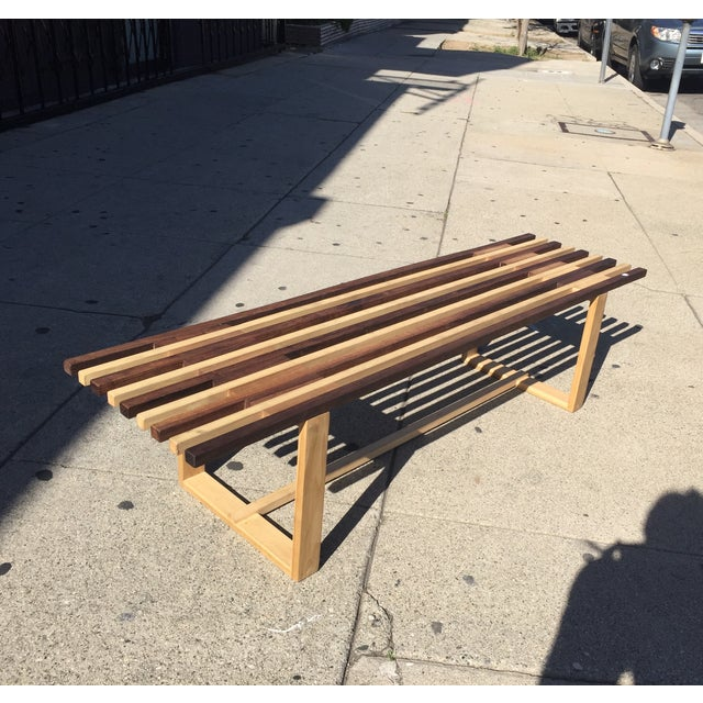 Mid-Century Style Handmade Slat Bench - Image 2 of 7
