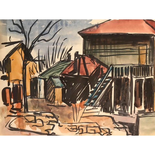 Cottage 1950s Mid-Century Kansas City Cityscape Painting For Sale - Image 3 of 3