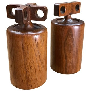 1950s Birgit Krogh Teak Salt Pepper Mills Danish Mid-Century Modern For Sale