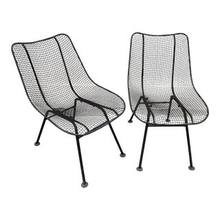 Vintage Russell Woodard Sculptura Mesh Wrought Iron Chairs - a Pair For Sale