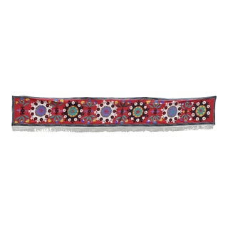 Vintage Embroidered Floral Suzani Table Runner / Wall Hanging For Sale