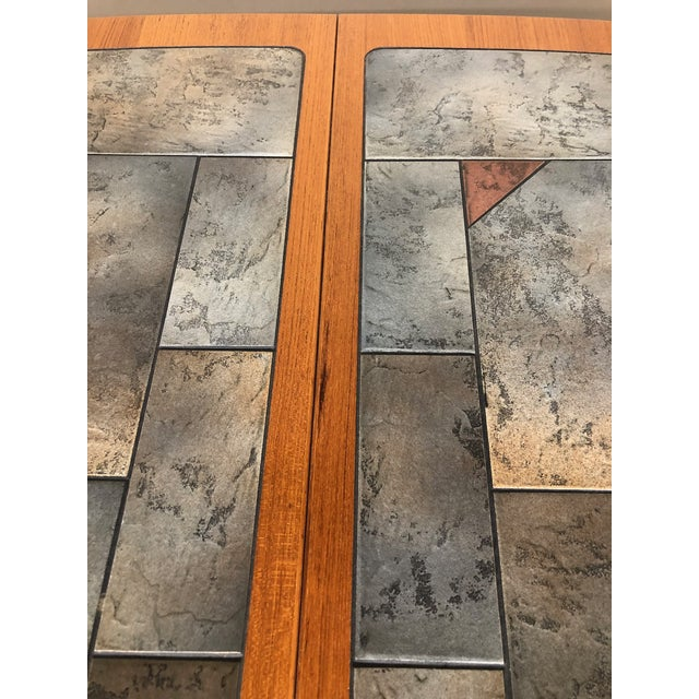 Brown Danish Teak and Tile Extending Dining Table Seats 10 For Sale - Image 8 of 13