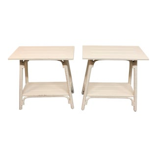 French Country Braxton Culler Campbell Cream Wood Isle Side Tables - a Pair