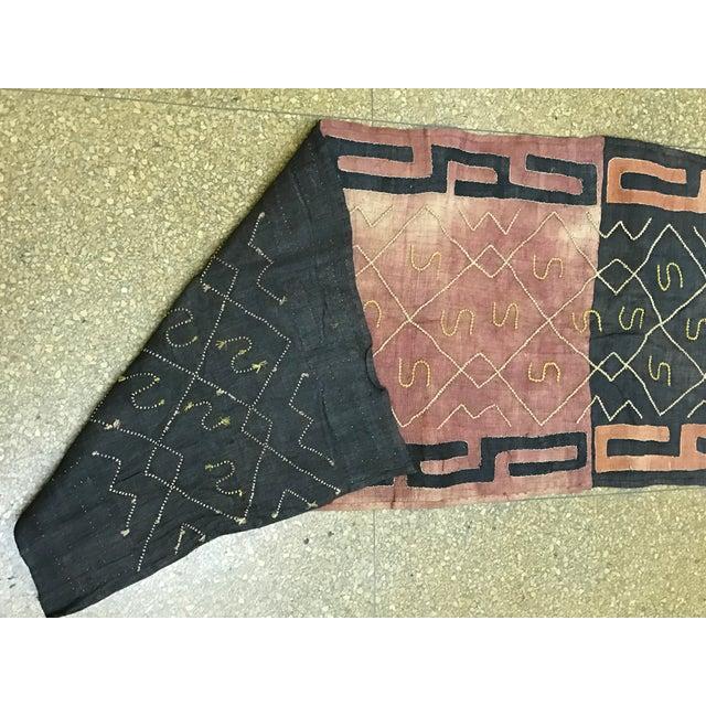 """African Tribal Art Handwoven Kuba Cloth Panel from Congo - 22"""" x 58"""" - Image 5 of 6"""