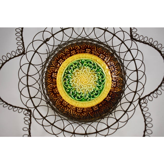Villeroy & Boch German Majolica & Looped Wire Basket For Sale - Image 4 of 11
