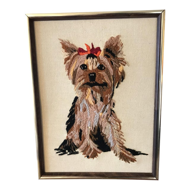 Handmade Framed Yorkie Dog - Image 1 of 10