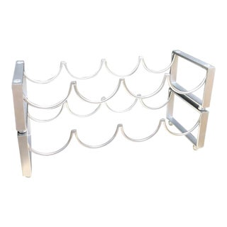Silver Metal Stacking Wine Bottle Rack For Sale