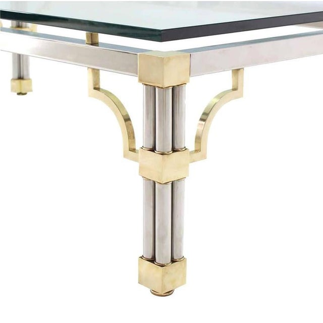 Silver Heavy Thick Glass Brass and Chrome Coffee Table For Sale - Image 8 of 8