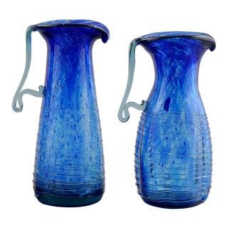 Pair Blue Murano Glass Pitchers