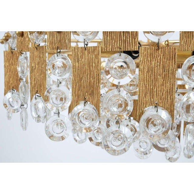 """Brass Delicate 20"""" Palwa Glass and Brass Chandelier, Lamp 1960 For Sale - Image 7 of 8"""