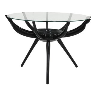 Mid-Century Modern Spider Lacquered Wood and Glass Coffee Table For Sale