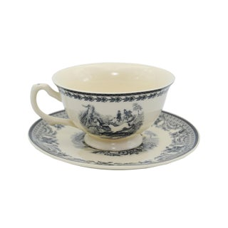 """5-3/4"""" Equestrian Transferware Porcelain Tea Cup and Saucer - Antique Reproduction For Sale"""