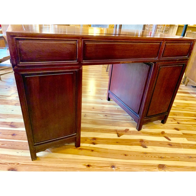 Asian 20th Century Campaign Solid Teak Partner Desk With Brass Hardware For Sale - Image 3 of 13
