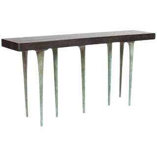 Akmd Collection Customizable Thicket Wood and Cast Aluminium Console Table For Sale