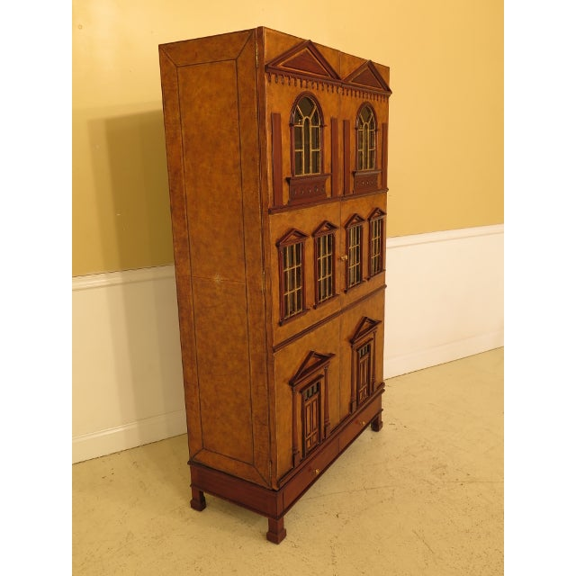 Early American Maitland Smith Leather Wrapped House Form China Cabinet For Sale - Image 3 of 13