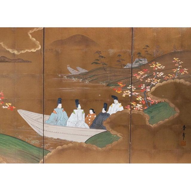 1920s Japanese Four Panel Byobu Screen For Sale - Image 4 of 13