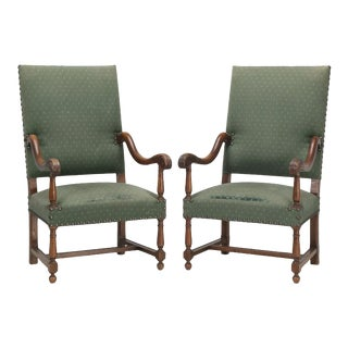 Antique French Green Upholstered Throne Arm Chairs - a Pair For Sale