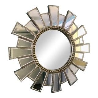 Large Antiqued Silver Leaf Starburst Mirror For Sale