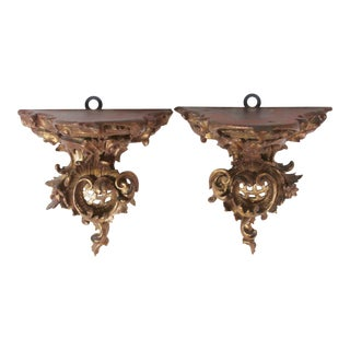Hand Carved Gilt-Wood Brackets/Shelves- a Pair