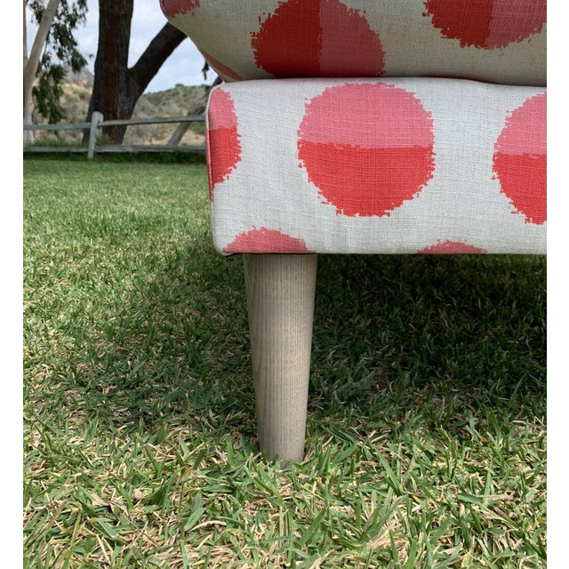 Land of Nod Margot Flamingo Polka Dot Settee For Sale In Los Angeles - Image 6 of 12