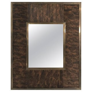 Italian Bronze and Lacquered Bamboo Motif Mirror For Sale