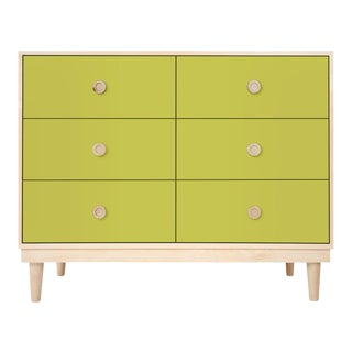 Lukka Modern Kids 6-Drawer Dresser in Maple With Green Finish For Sale