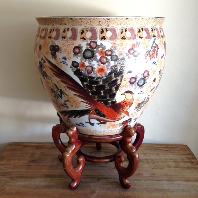 Large Antique Chinese Famille Fish Bowl & Stand - Image 5 of 6