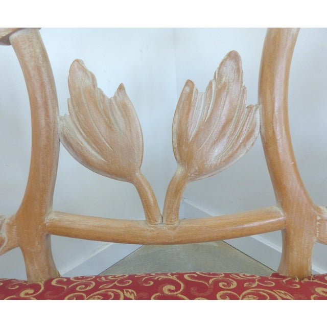 LaVerne Style Carved Wood Settee For Sale - Image 9 of 12