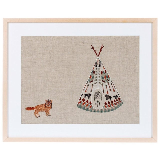 Contemporary Tipi and Fox Framed Art For Sale - Image 5 of 5