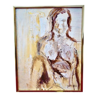 1970s Vintage Abstract Acrylic Portrait of a Woman Painting For Sale