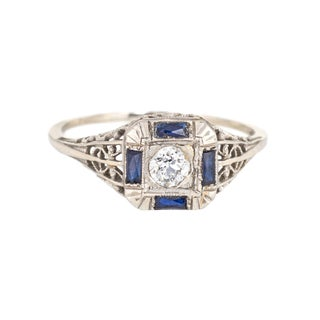 Early 20th Century Antique Deco Diamond Sapphire Ring For Sale