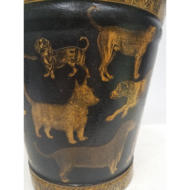 1900 - 1909 English Antique Bucket / Pail With Decoupage Dogs - Found in Southern England For Sale - Image 5 of 13