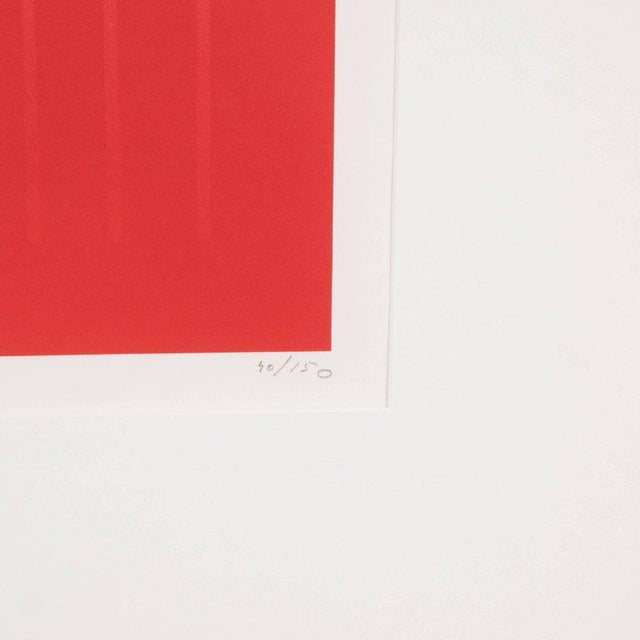 Aluminum Dynamic Mid-Century Modern Op-Art Signed Serigraph by Ennio Finzi in Vibrant Red For Sale - Image 7 of 10
