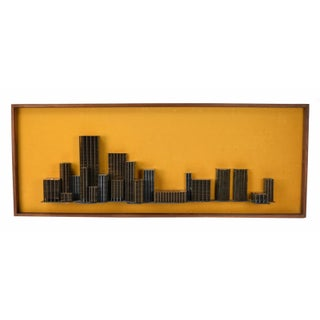 Vintage Mid-Century Modern Metal Architectural Model Wall Sculpture For Sale