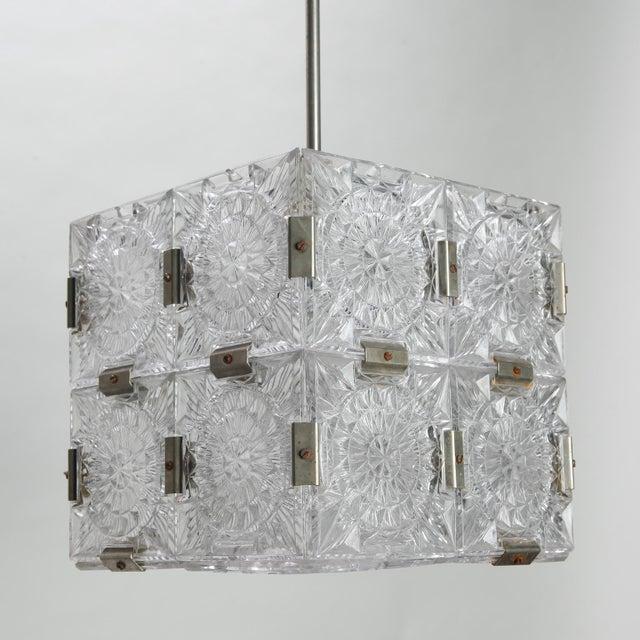 1970s Mid Century Kalmar Glass Cube Pendant Light For Sale - Image 5 of 8