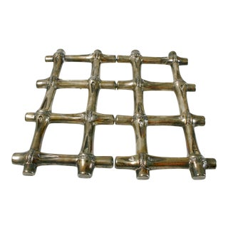 Silver Plated Expandable Bamboo Trivet For Sale