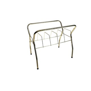 Mid Century Modern Gold Record Rack Stand