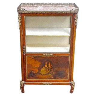 Antique French Handpainted Wood & Ormolu Vitrine For Sale