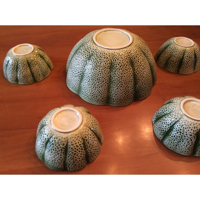 1960s Majolica Cantelope Salad Bowls - Set of 5 For Sale - Image 11 of 12