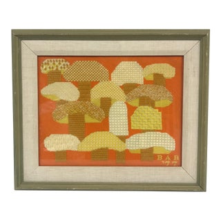 Framed Needlepoint Mushrooms