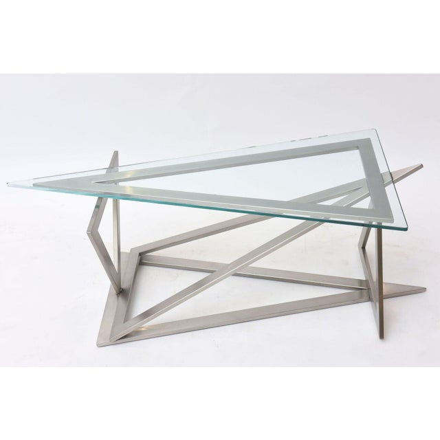 Italian Modern Stainless Steel and Glass Table Attributed to Giovanni Offredi For Sale - Image 9 of 10