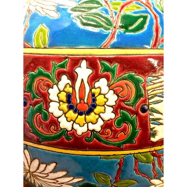 Aesthetic Movement Pair 19th Century Majolica Longwy Lamps For Sale - Image 3 of 8