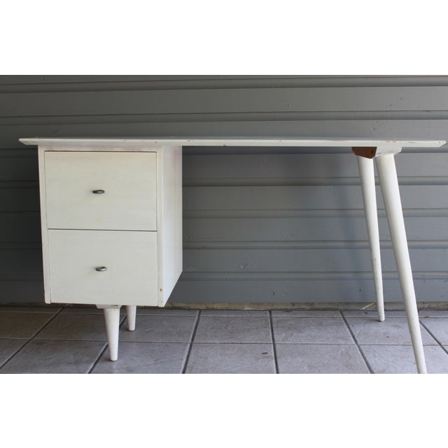 Mid-Century Modern Atomic White Writing Desk - Image 2 of 6