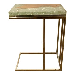 Interlude Home Teak and Crushed Glass in Resin Side Table For Sale