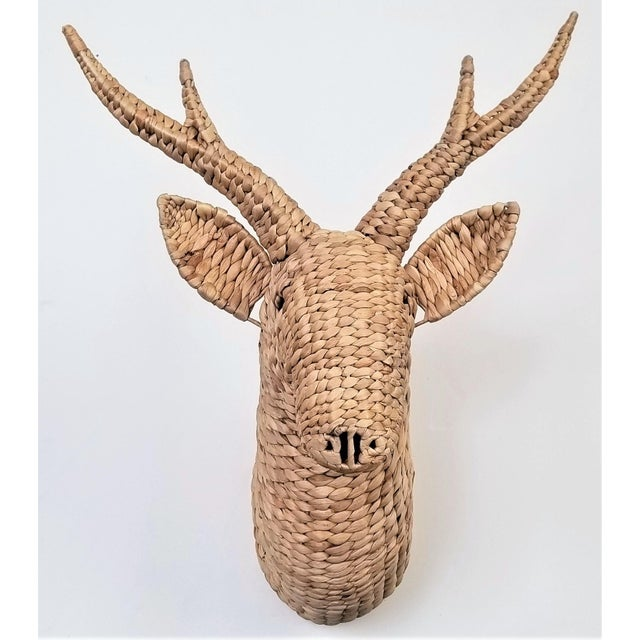 Seagrass Raffia Wicker Stag Wall Sculpture-Mid Century Modern Tropical Coastal Nautical Rattan Bamboo Tree Taxidermy Antler Mario Lopez Torres For Sale - Image 12 of 13