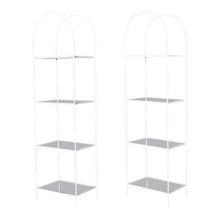 1950s Iron & Glass Shelving - A Pair