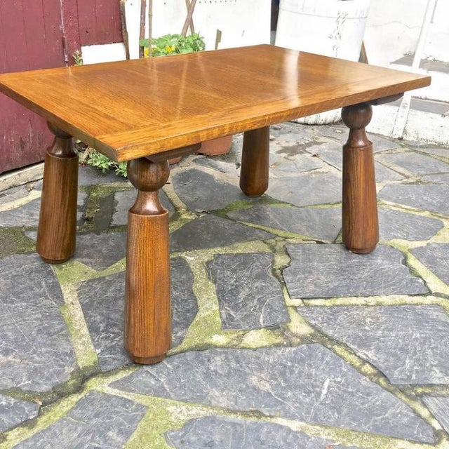 Brutalist Organic Oak Coffee Table with Massive Legs For Sale - Image 3 of 7