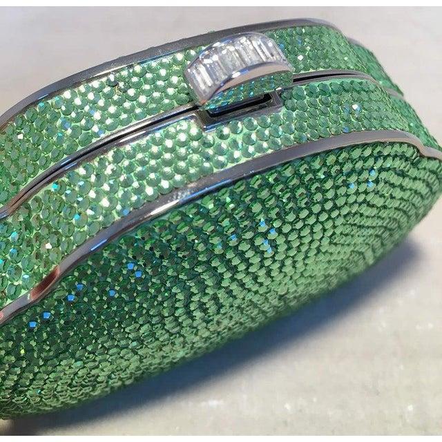 Art Deco Judith Leiber Green Swarovski Crystal Minaudiere Evening Bag For Sale - Image 3 of 9